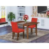 Winston Porter Gutta 3 Piece Extendable Solid Wood Dining Set Wood/Upholstered Chairs in Brown, Size 30.0 H in | Wayfair