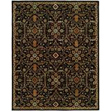 World Menagerie Steffen Oriental Handmade Tufted Wool Black Area Rug Wool in Black/Brown, Size 120.0 H x 30.0 W x 0.5 D in   Wayfair