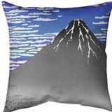 East Urban Home Katsushika Hokusai Fine Wind Clear Morning Throw Pillow Cotton in Blue/Indigo, Size 16.0 H x 16.0 W x 1.0 D in   Wayfair