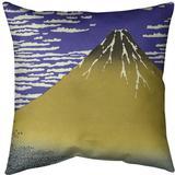 East Urban Home Katsushika Hokusai Fine Wind Clear Morning Throw Pillow Cotton in Blue/Yellow, Size 18.0 H x 18.0 W x 1.5 D in   Wayfair