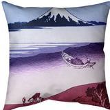 East Urban Home Katsushika Hokusai Tama River in Musashi Province Throw Pillow Cotton in Pink, Size 20.0 H x 20.0 W x 1.5 D in   Wayfair