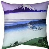East Urban Home Katsushika Hokusai Tama River in Musashi Province Throw Pillow Cotton in Green, Size 20.0 H x 20.0 W x 1.5 D in   Wayfair