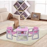 Isabelle & Max™ 3-Piece Kid Activity Playing Furniture Table & 2 Chairs Set For Toddler,Pink Plastic/Metal in Pink/Gray, Size 19.21 H x 19.49 W in