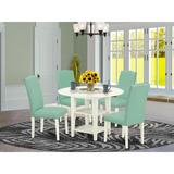 Winston Porter Dacus 5 - Piece Drop Leaf Solid Wood Rubberwood Dining Set Wood/Upholstered Chairs in White, Size 29.5 H in   Wayfair