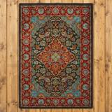 Bungalow Rose Prolley Oriental Red/Blue/Black Area Rug Metal in White, Size 47.0 H x 32.0 W x 0.38 D in | Wayfair RC0232DST234