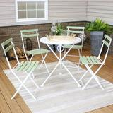 """Rosecliff Heights Helgeson Round 4 - Person 27.75"""" Long Dining Set Wood/Metal in Green, Size 30.25 H x 27.75 W x 27.75 D in 