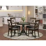 Charlton Home® Steadman 5 - Piece Counter Height Rubberwood Solid Wood Dining Set Wood/Upholstered Chairs in Brown, Size 29.5 H x 36.0 W x 36.0 D in