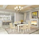 Winston Porter Branca 7 Piece Extendable Solid Wood Dining Set Wood/Upholstered Chairs in White, Size 30.0 H in | Wayfair