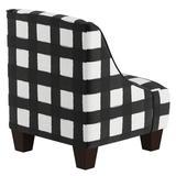 Harriet Bee Foxx Swoop Arm Chair Upholstered in White/Black, Size 22.0 H x 18.0 W x 18.0 D in | Wayfair 9AD17F4FCE7E4EA2B1C41D6A8745A621