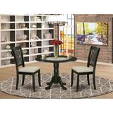 Winston Porter Lewisburg 3 Piece Drop Leaf Solid Wood Dining Set Wood/Upholstered Chairs in Black, Size 29.5 H in | Wayfair