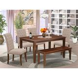 Winston Porter Bowenvale 6 Piece Solid Wood Dining Set Wood/Upholstered Chairs in Brown, Size 30.0 H x 36.0 W x 60.0 D in | Wayfair