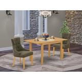Winston Porter Isse 3 Piece Solid Wood Dining Set Wood/Upholstered Chairs in Brown, Size 30.0 H in | Wayfair D49A367A2995421CB093D0E93696192D