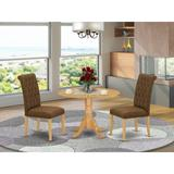 Winston Porter Elza 3 Piece Drop Leaf Solid Rubber Wood Dining SetWood/Upholstered Chairs in Brown, Size 29.5 H in   Wayfair