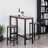 17 Stories 3 - Piece Counter Height Dining Set Wood/Metal in Brown, Size 39.5 H x 47.5 W x 47.5 D in   Wayfair 730928296C2248CA8D2C7BD881EDC311