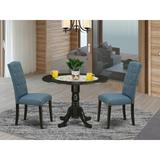 Canora Grey Mckeown Drop Leaf Solid Wood Dining Set Wood/Upholstered Chairs in Black, Size 29.5 H in | Wayfair F6BDFCD156B4440CBB246010D2B444DD