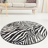 World Menagerie Vendramin Animal Print Flatweave Area Rug Polyester in Black, Size 55.0 H x 55.0 W x 1.0 D in | Wayfair