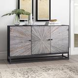 "Foundry Select Zinaida 59"" Wide Mango Wood Buffet Table Wood in Gray, Size 34.0 H x 59.0 W x 15.0 D in | Wayfair 4400F973657C489898980F7A8C1DEAEE"