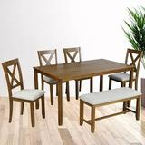 Gracie Oaks Jetset 6 - Piece Dining Set Wood/Upholstered Chairs in Brown, Size 30.0 H x 36.0 W x 60.0 D in   Wayfair