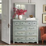 Kelly Clarkson Home Lyra 9 Drawer Double Dresser w/ Mirror Wood in Green, Size 77.0 H x 50.0 W x 19.0 D in | Wayfair