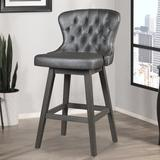 Greyleigh™ Wesley Swivel Counter & Bar Stool Wood/Upholstered/Leather/Faux leather in Brown/Gray/Green, Size 41.0 H x 24.0 D in | Wayfair