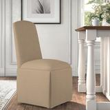 Kelly Clarkson Home Ava Traditional Upholstered Skirted Side ChairPolyester/Polyester blend/Upholstered/Fabric in White/Brown | Wayfair