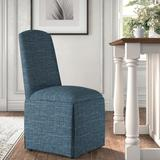 Kelly Clarkson Home Ava Traditional Upholstered Skirted Side ChairPolyester/Polyester blend/Upholstered/Fabric in Blue | Wayfair