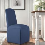 Kelly Clarkson Home Ava Traditional Upholstered Skirted Side ChairPolyester/Polyester blend/Upholstered/Fabric in Blue/Brown | Wayfair