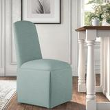 Kelly Clarkson Home Ava Traditional Upholstered Skirted Side ChairPolyester/Polyester blend/Upholstered/Fabric in Gray/Blue | Wayfair