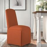Kelly Clarkson Home Ava Traditional Upholstered Skirted Side ChairPolyester/Polyester blend/Upholstered/Fabric in Orange | Wayfair