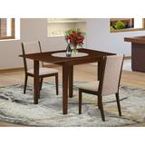 Red Barrel Studio® Abrahms Drop Leaf Rubberwood Solid Wood Dining Set Wood/Upholstered Chairs in Brown, Size 30.0 H in   Wayfair
