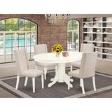 East West Furniture Butterfly Leaf Rubberwood Solid Wood Dining Set Wood/Upholstered Chairs in Brown/White, Size 30.0 H in | Wayfair AVFL5-LWH-01