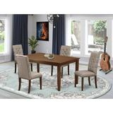 Red Barrel Studio® Abony Rubberwood Solid Wood Dining Set Wood/Upholstered Chairs in Brown/Gray, Size 30.0 H x 36.0 W x 60.0 D in   Wayfair