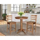 International Concepts 3 - Piece Counter Height Rubberwood Solid Wood Dining Set Wood in Brown, Size 35.9 H in   Wayfair K42-30RT-27B-S6172-2