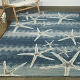 Sand & Stable™ Bayshore Animal Print Blue Area Rug Polypropylene in Blue/White, Size 72.0 H x 52.0 W x 0.45 D in   Wayfair