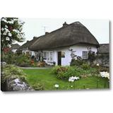 Gracie Oaks 'Ireland, Adare Cottage Surrounded By a Garden' Photographic Print on Wrapped Canvas Canvas & Fabric in Brown/Gray/Green | Wayfair