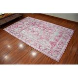 Bungalow Rose Kivanc Floral Handwoven Flatweave Pink/Area Rug Polyester in Gray, Size 85.0 H x 49.0 W x 0.2 D in | Wayfair