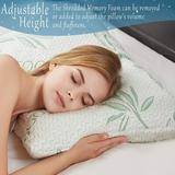 Alwyn Home Knollwood Adjustable Shredded Memory Foam Plush Support Pillow Rayon from Bamboo/Shredded Memory Foam, Size 8.0 H x 18.0 W x 8.0 D in