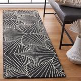 Etta Avenue™ Mavis Geometric Handmade Tufted Wool/Cotton Charcoal/Ivory Area Rug Cotton/Wool in Gray, Size 84.0 H x 27.0 W x 0.24 D in | Wayfair