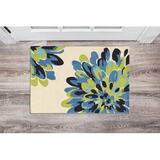 Winston Porter Marisela Floral Handmade Tufted Bloom Beige/Blue/Green Area Rug Plastic in Blue/Green/White   Wayfair