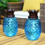 Bay Isle Home™ Lybarger Tropical Pineapple Glass Outdoor Garden Torch Glass in Blue, Size 63.0 H x 5.0 W x 5.0 D in   Wayfair