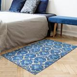 Bungalow Rose Devina Damask Flatweave Blue/Yellow Area Rug Polyester in White, Size 36.0 H x 60.0 W x 0.25 D in   Wayfair
