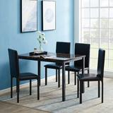 Latitude Run® Eshman 5 - Piece Counter Height Dining SetWood/Metal/Upholstered Chairs in Black/Brown, Size 37.0 H x 29.9 W x 48.0 D in | Wayfair