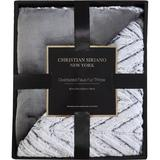 Christian Siriano NY Chevron Grey Faux Fur Throw