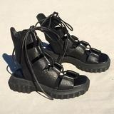 Free People Shoes | New Free People Black Leather Gladiator Sandal 36 | Color: Black | Size: 6