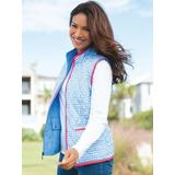 Women's Quilted Gingham Reversible Vest, Light Wedgewood Blue P-XL