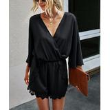 C.CLINE Women's Rompers black - Black Bell-Sleeve Lace-Hem Surplice Romper - Women