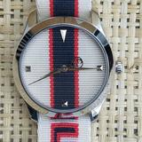 Gucci Accessories   New Men'S Gucci G-Timeless Textile-Stripe Watch   Color: Pink/Red   Size: 38mm (1.5)