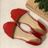 Nine West Shoes   **Never Worn** Red Peep-Toe Nine West Flats   Color: Red   Size: 7m