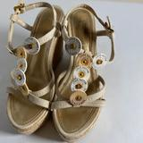 Louis Vuitton Shoes   Lv Trunks And Bags Wedge Espadrille   Color: Gold/White   Size: 8.5