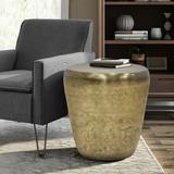 Garvy Industrial 20 inch Wide Metal Accent Side Table in Antique Gold, Fully Assembled - Simpli Home AXCMTBL-12-AG